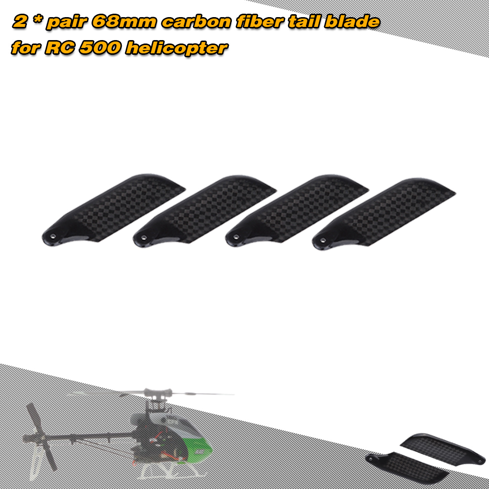 2 * Pairs Carbon Fiber 68mm Tail Blades for Align Trex 500 RC Helicopter by