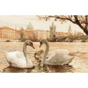 """Swans Prague Counted Cross Stitch Kit, 17.75"""" x 11.75"""", 14-Count"""