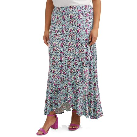 Reversible Wrap Skirt (Women's Plus Size Knit Wrap Flounce Skirt)