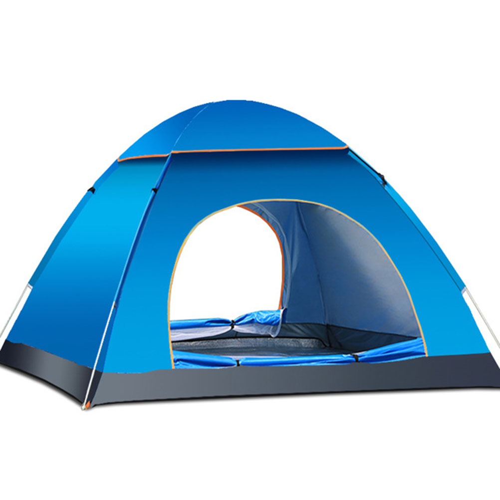 3-4 Person Automatic Folding Tents Family Tents Beach Tent Camping Double Speed to Open Rejection (Blue)