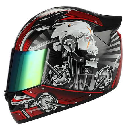 1STORM MOTORCYCLE BIKE FULL FACE HELMET DJ11 MECHANIC SKULL RED