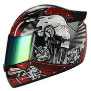 1STORM MOTORCYCLE BIKE FULL FACE HELMET MECHANIC SKULL RED