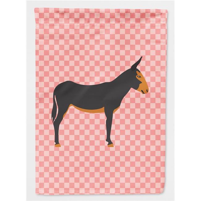 Carolines Treasures BB7855CHF Catalan Donkey Pink Check Canvas House Flag - image 1 of 1