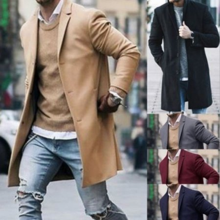 Fashion Men Wool Coat Winter Trench Coat Outwear Overcoat Long Sleeve - 1950s Fashion Men Greaser