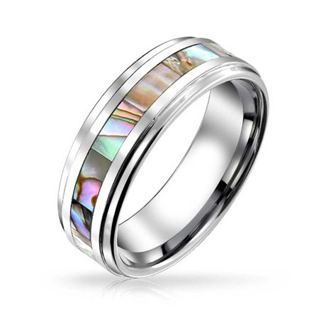 Bling Jewelry Unisex Tungsten Wedding Band Abalone Shell Inlay Ring 8Mm