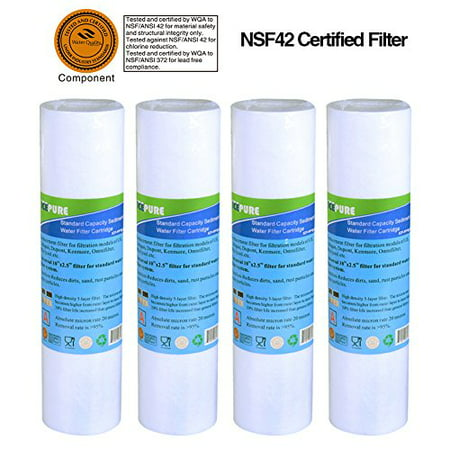 "Big Blue Sediment Replacement Water Filters 5 Micron 10"" x2.5"" Cartridge 4 (1 Micron Nominal Filter Cartridge)"
