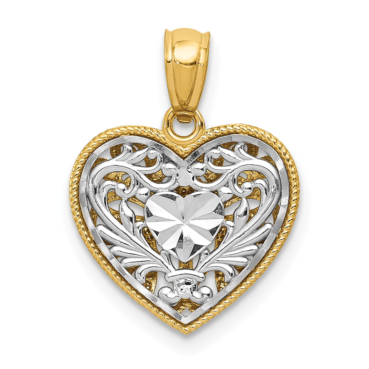 14k Two Tone Yellow Gold Reversible Filigree Heart Pendant Charm Necklace Love Fine Jewelry Gifts For Women For Her - image 3 de 4