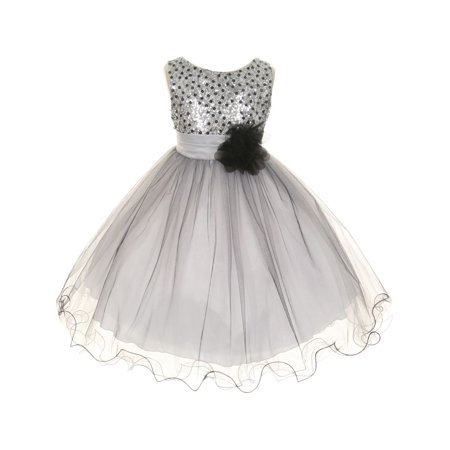 Kids Dream Girls Silver Multi Sequin Tulle Special Occasion Dress 12