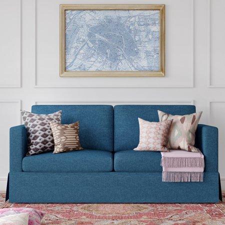 Better Homes and Gardens Russel Skirted Slipcover Sofa, Blue ...
