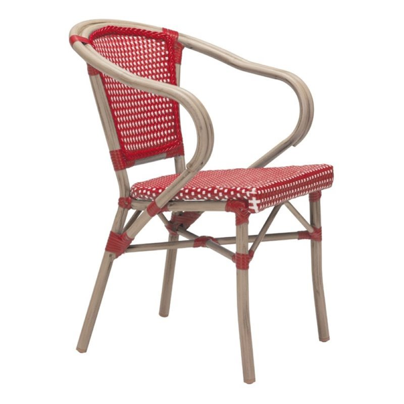 Brika Home Patio Dining Armchair in Red and White (Set of 2) by Brika Home
