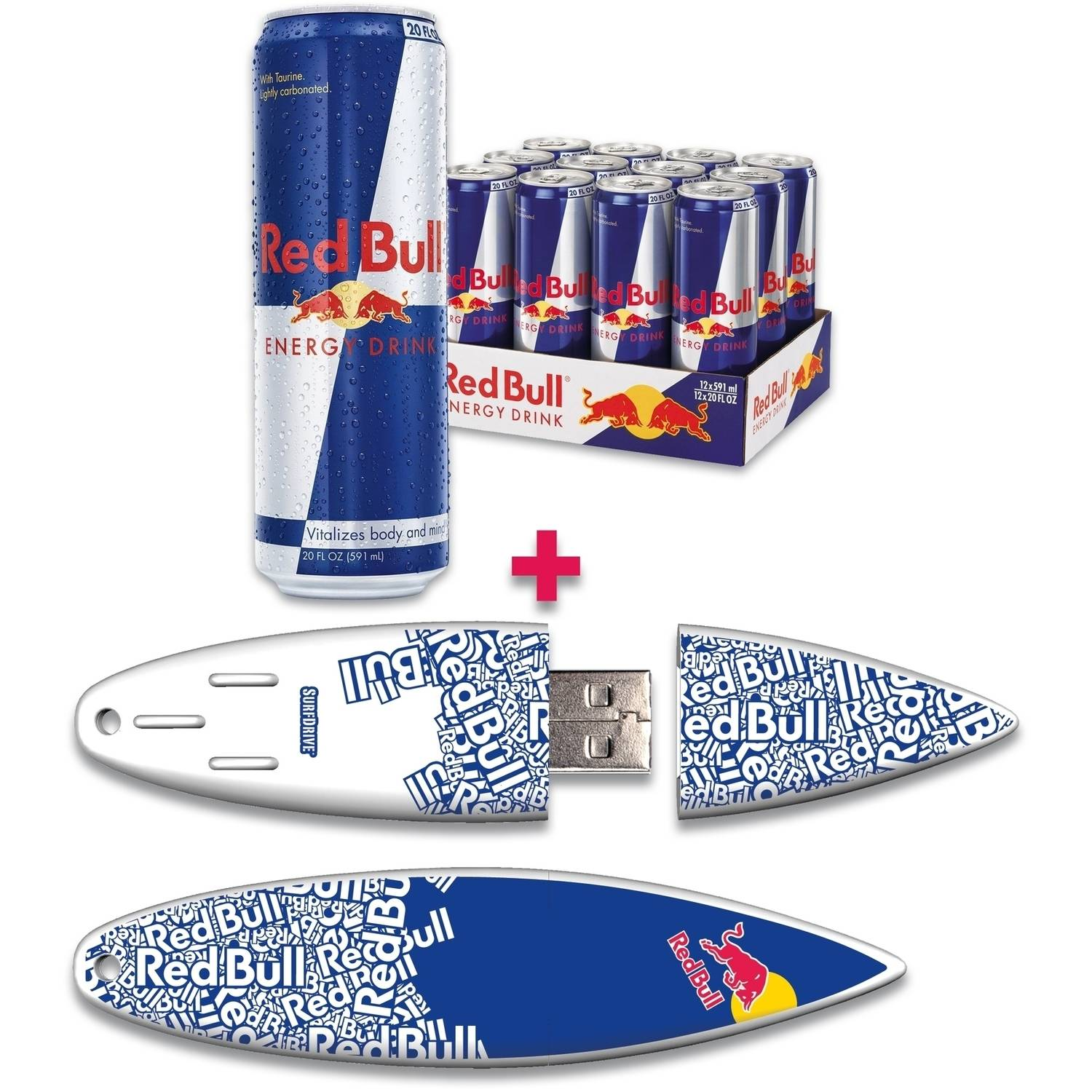 Red Bull 12-Pack 20-Ounce Original Energy Drink and 16GB Blue Text USB SurfDrive