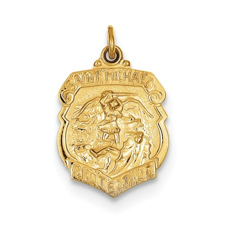24k Gold Plated 925 Sterling Silver Saint Michael Badge Medal Pendant Charm Necklace Religious Patron St Gifts For Women For (Saint Michael Patron Saint)