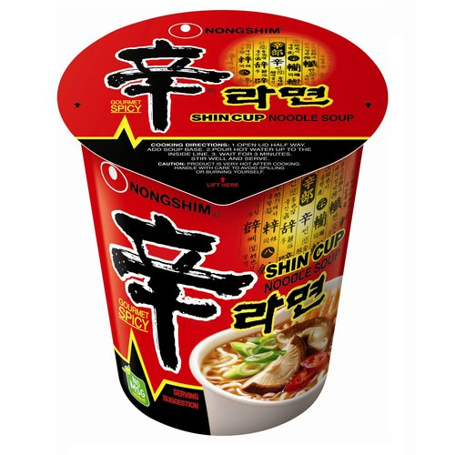 Nong Shim Shin Cup Noodle Hot And Spicy Soup, 2.64 oz