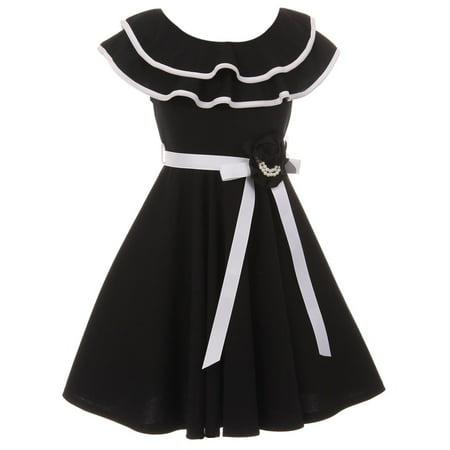 55e64ff0895a2 Dreamer P - Little Girls Classic Layered Ruffle Graduation Holiday Party  Flower Girl Dress Black 4 (J21KS28) - Walmart.com