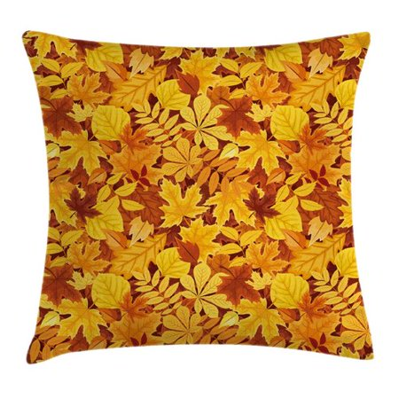 Ambesonne Tree Shady Fall Oak Maple Leaf Square Pillow Cover Shady Tree Studio