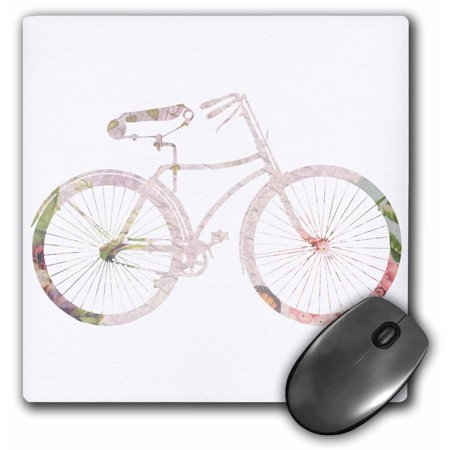 3dRose Pink girly bicycle design - floral shabby chic bike on white - stylish pastel country rustic flowery, Mouse Pad, 8 by 8 inches