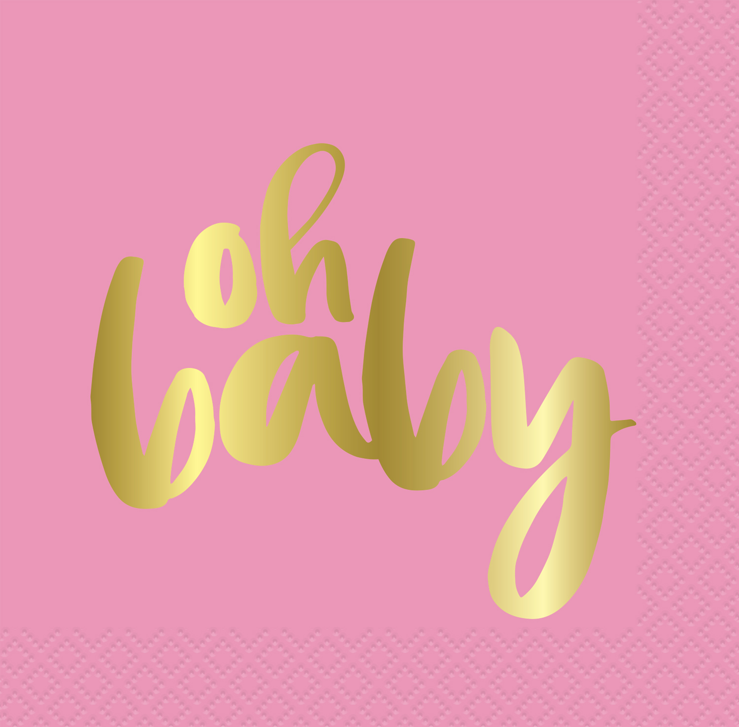 """""""Oh Baby"""" Paper Luncheon Napkins, 6.5 in, Pink and Gold, 16ct"""