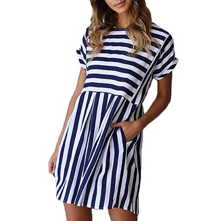 Women Striped Dress Casual Cute Short Sleeve O-Neck Mini Summer Dresses for Women