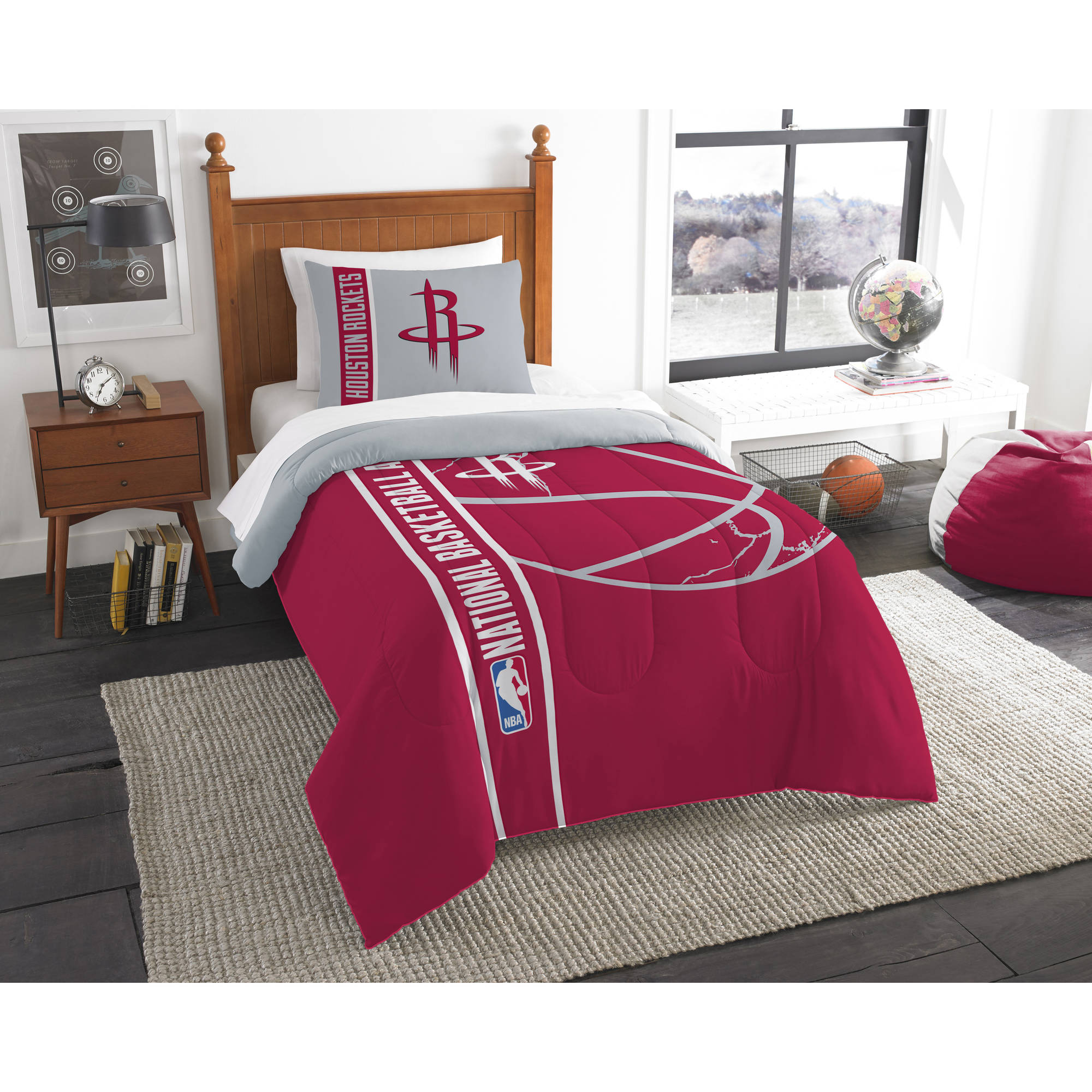 "Houston Rockets NBA Printed Comforter & Sham Set (Twin) (64"" x 86"")"