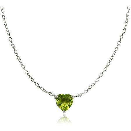 Peridot Sterling Silver Small Dainty Heart Choker Necklace