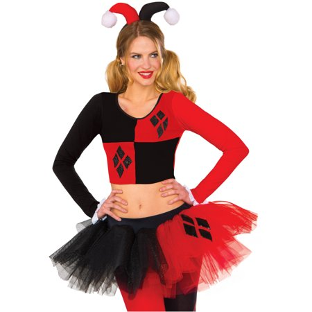 Adult's Womens Classic DC Comics Harley Quinn Crop Top Shirt Costume (Dc Harley Quinn Costume)