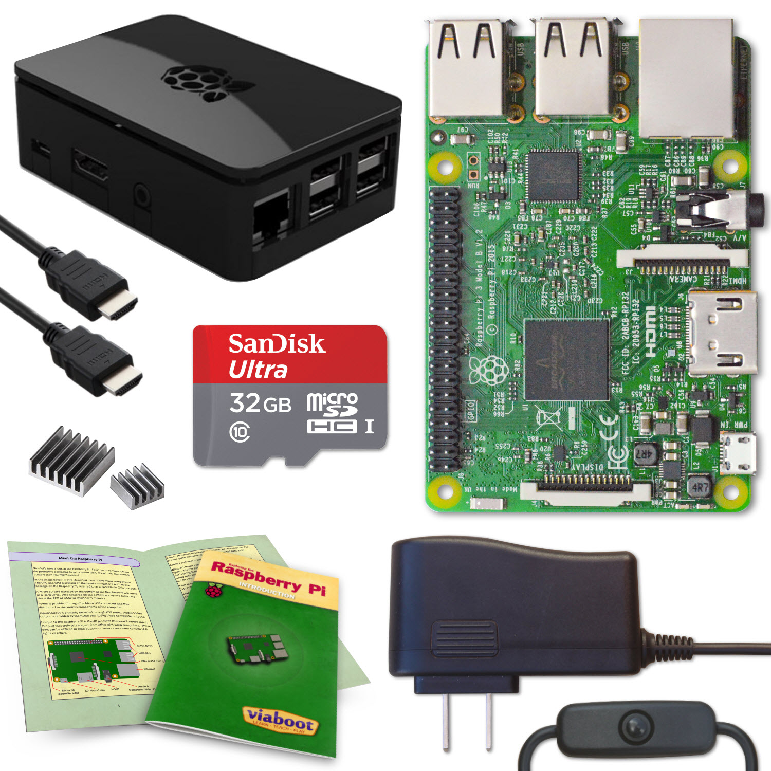 Viaboot Raspberry Pi 3 Complete Kit with Premium Black Case