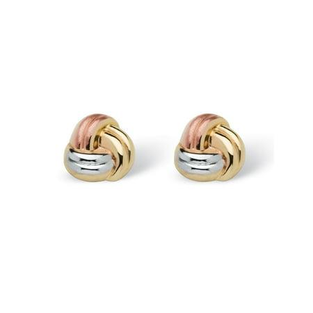 Love Knot Earrings in Tri-Tone 10k Gold