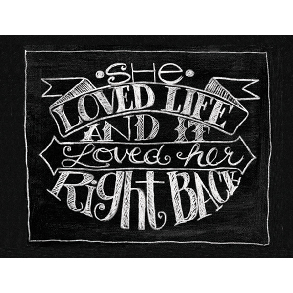 "Chalkboard Canvas Print 12""X15.75""-She Loved Life"