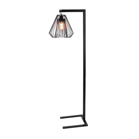 Decmode contemporary 55 inch black iron floor lamp with diamond decmode contemporary 55 inch black iron floor lamp with diamond shaped wire shade black greentooth Gallery