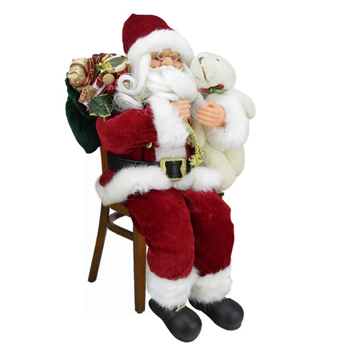 Northlight Seasonal Majestic Sitting Santa Claus Christmas Figure with Teddy Bear and Gift Bag