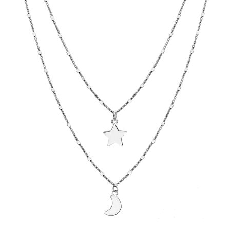 Bliss Star and Crescent Layered Necklace in Sterling Silver