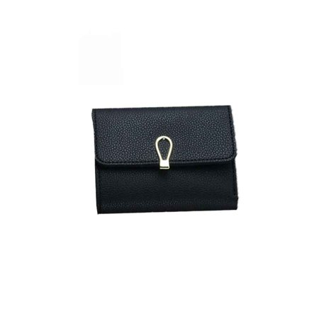 Women PU Leather Wallet Card Coin Money Clip Short Clutch Three Fold Ring Button Small Purse ()
