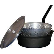 King Kooker CIFFB Cast Iron Dutch Oven w/ Aluminum Lid & Basket, 6-Quart