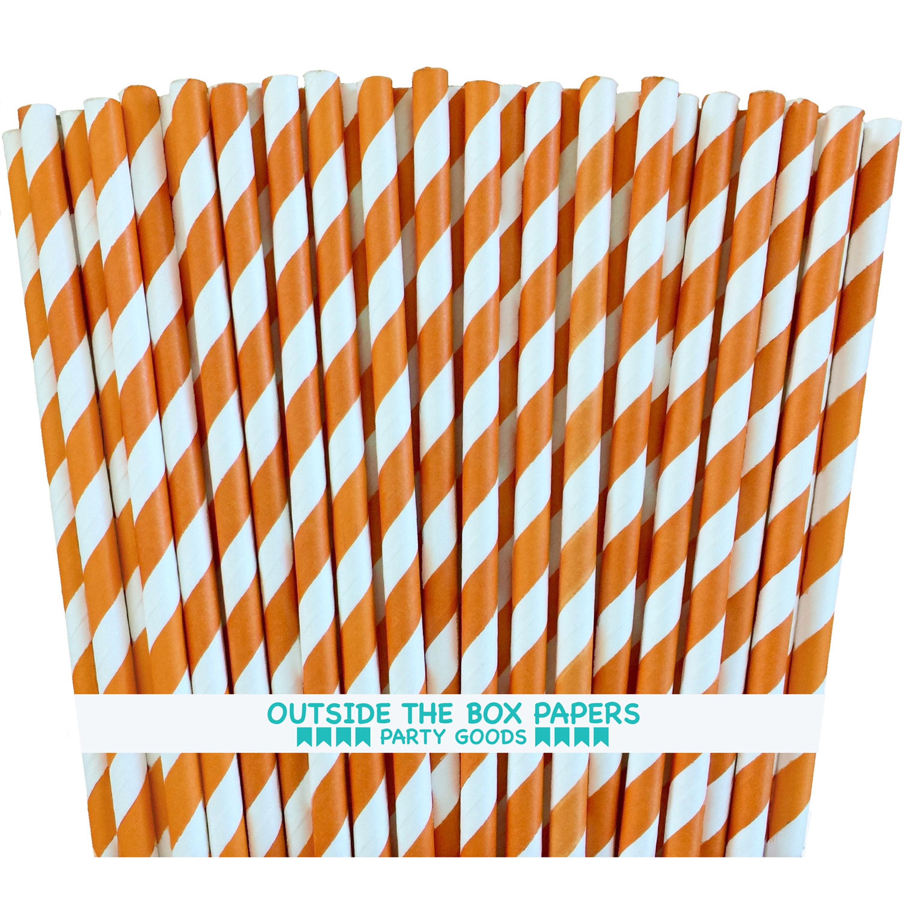 Orange and White Striped Paper Straws  100 Pack