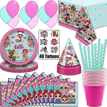 LOL Suprise Party Supplies, Serves 16 - Plates, Napkins, Tablecloth, Cups, Straws, Balloons, Tattoos, Birthday Hats - Full Tableware, Decorations, Favors for L.O.L Collectors - Sweet 16 Plates And Napkins