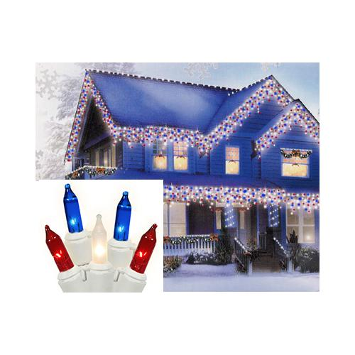 Set of 100 Red, Clear Frosted & Blue 4th of July Icicle Christmas Lights - White Wire