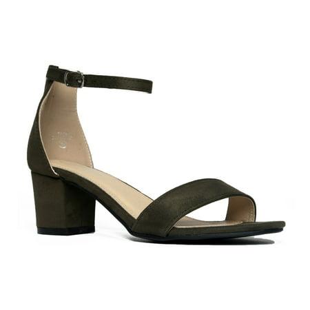 J. Adams Daisy Mid Heel Ankle Strap Kitten Heel Sandal