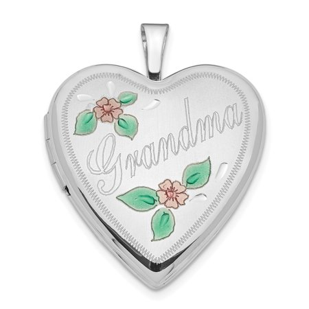 14K White Gold 20mm White Gold Enamel Flowers Grandma Heart Locket - image 3 de 3