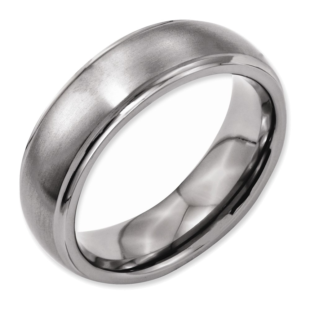 Titanium Ridged Edge 7mm Brushed and Polished Band Size 13