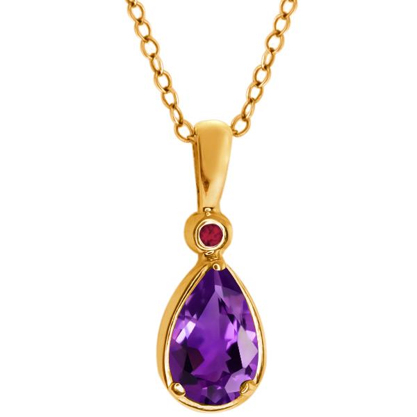 1.01 Ct Pear Shape Purple Amethyst Red Rhodolite Garnet 14K Yellow Gold Pendant