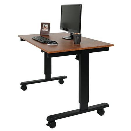 48 Electric Stand Up Desk Black Frame Teak Top