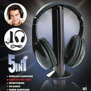Multifunction 5 In 1 HiFi Wireless Headphone Earphone Headset Wireless Monitor FM Radio MP3 PC TV Audio Phones MH-2001