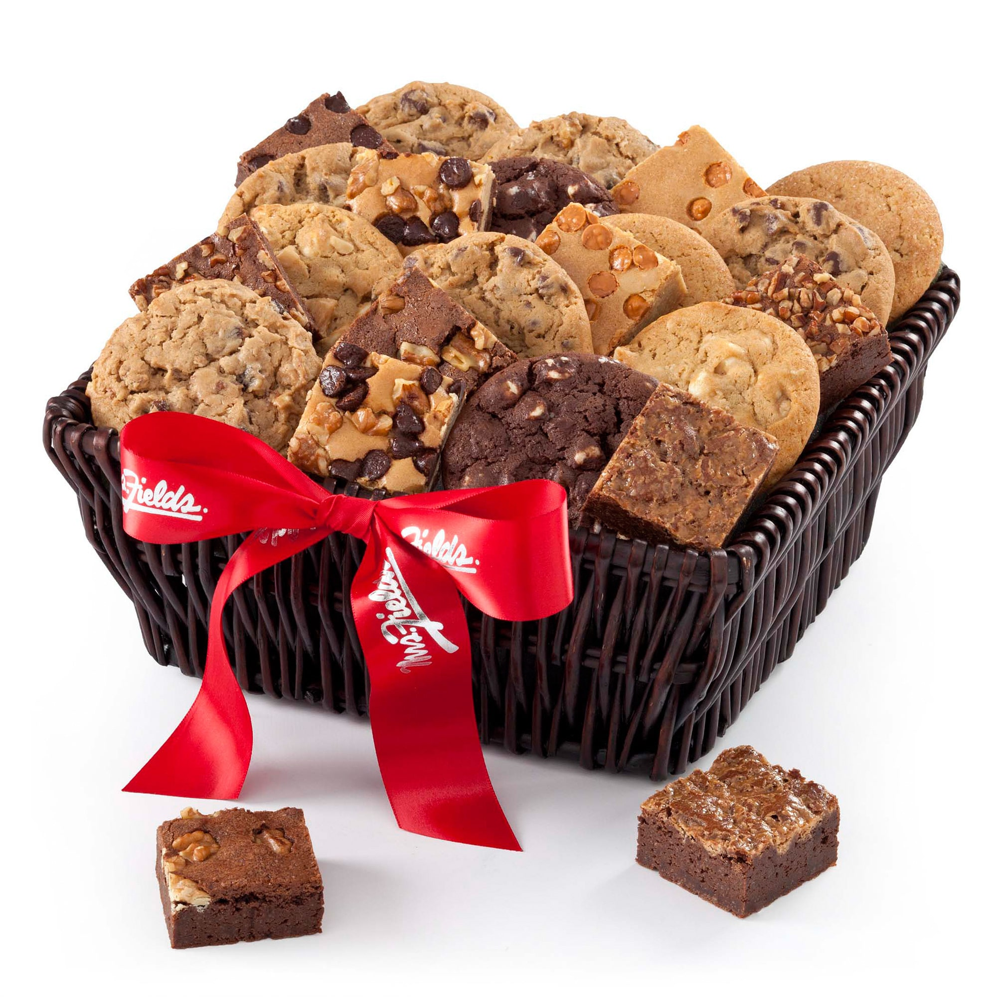 Mrs. FIelds Fresh Baked 12 Cookies and Brownies Galore Basket with Bow by Overstock
