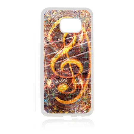 Musical Treble Clef Brick Wall Art Print Design White Rubber Thin Case Cover for the Samsung Galaxy s7 Edge - Samsung Galaxy s7 Edge Accessories - s7 Edge Case