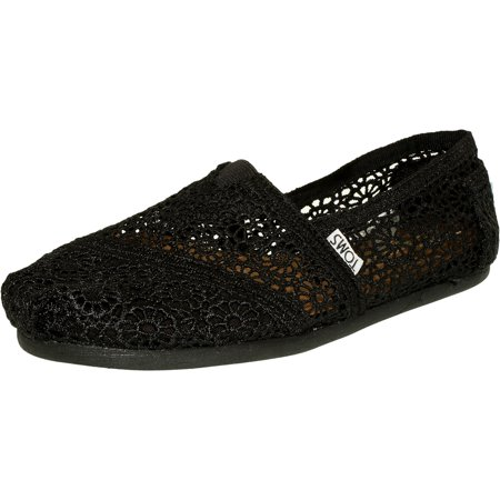 Toms Women's Alpargata Moroccan Crochet Black Ankle-High Cotton Flat Shoe - 9.5M (Flat Black Shoes)