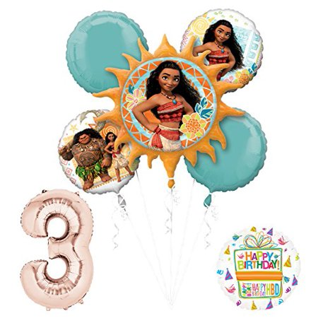 Birthday Princess Decorations (Moana 3rd Birthday party Supplies and Princess Balloon Bouquet)