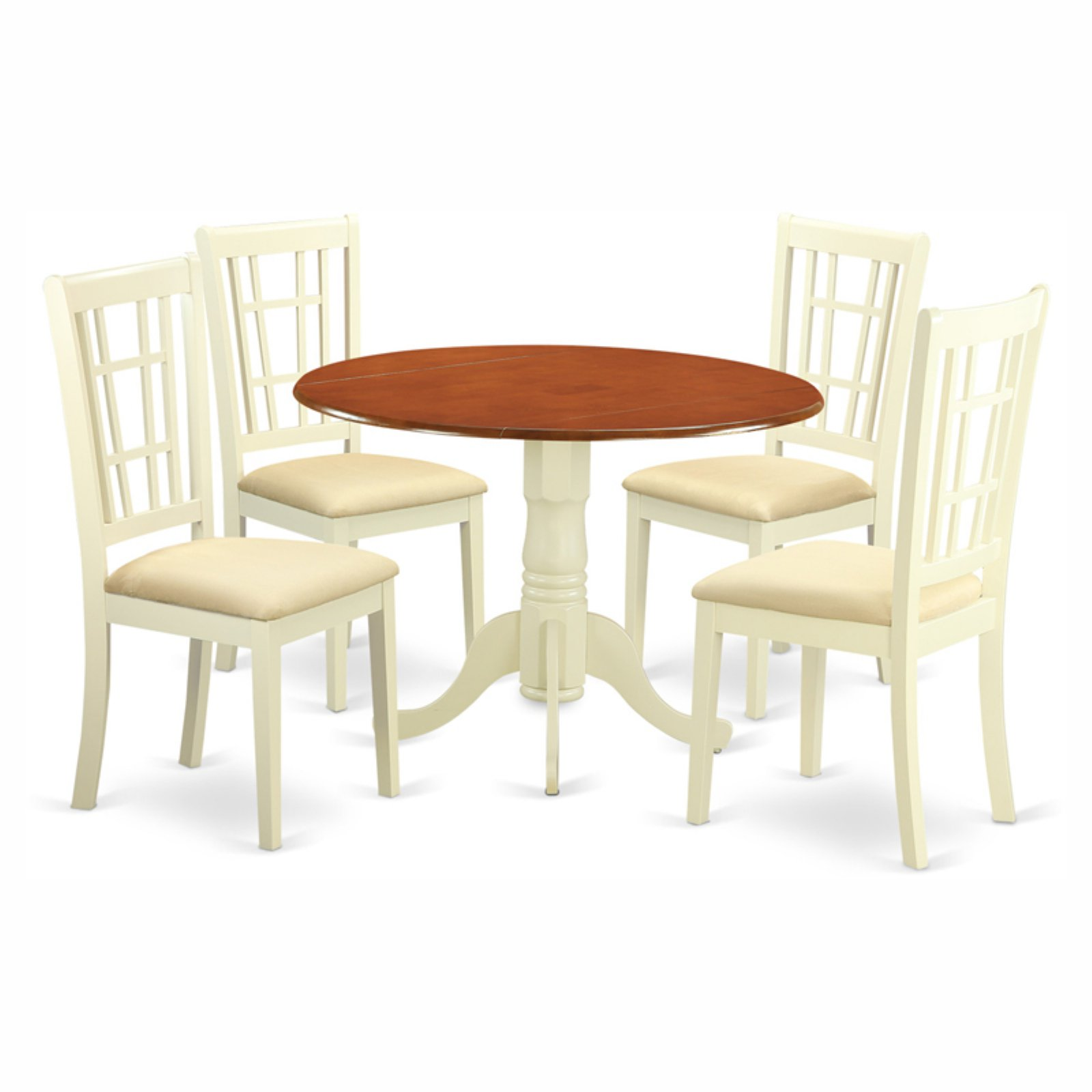 East West Furniture Dublin 5 Piece Drop Leaf Dining Table Set with Nicoli Microfiber Seat Chairs