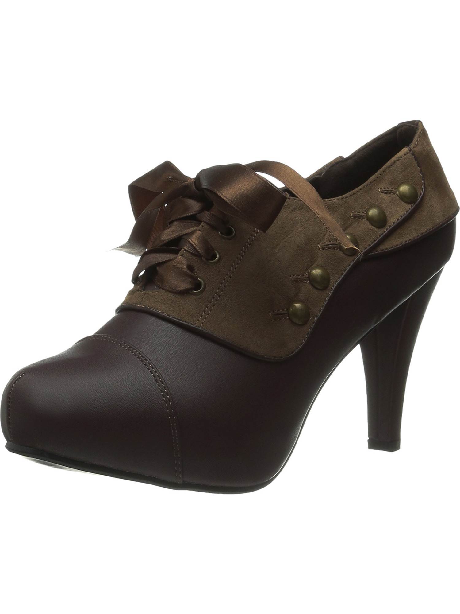 Womens Tan High Heels Lace Up Oxfords Brown Pumps Gold Studs 4 Inch Heels Shoes