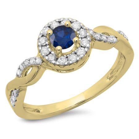 0.55 Carat (ctw) 18K Yellow Gold Round Cut Blue Sapphire & White Diamond Ladies Swirl Bridal Halo Engagement Ring 1/2 CT
