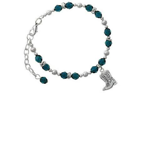Silvertone Cowboy Boots Navy Blue Beaded Bracelet (Cowboy Boot Bracelet)